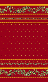 Olive Blossom Tablecloth Rectangular Red Coated